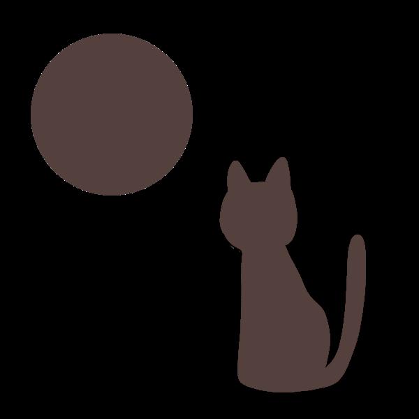 猫と月(シルエット)のイラスト