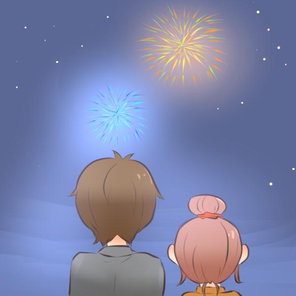 花火を見る男女のイラスト