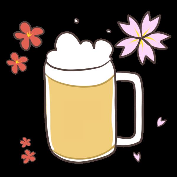 花見といえばビールのイラスト