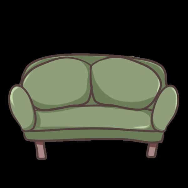 緑のソファーのイラスト