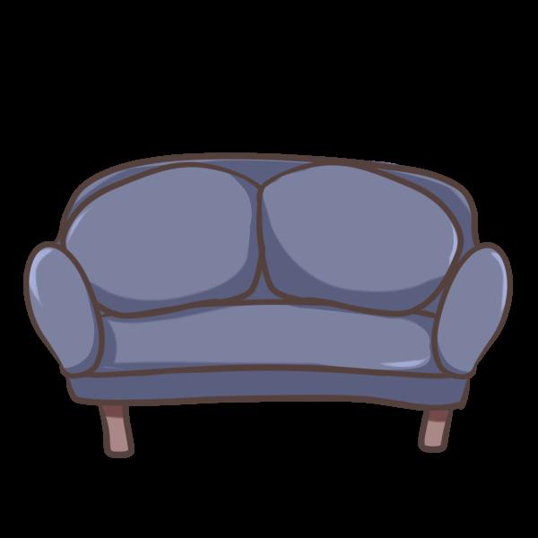 青のソファーのイラスト