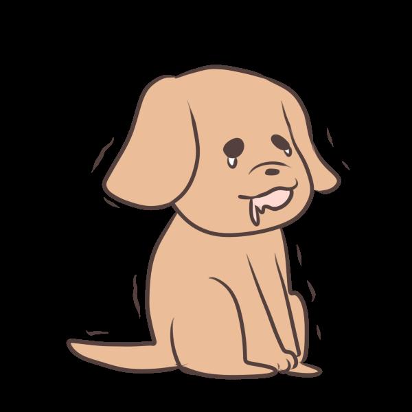 待てが辛い犬のイラスト