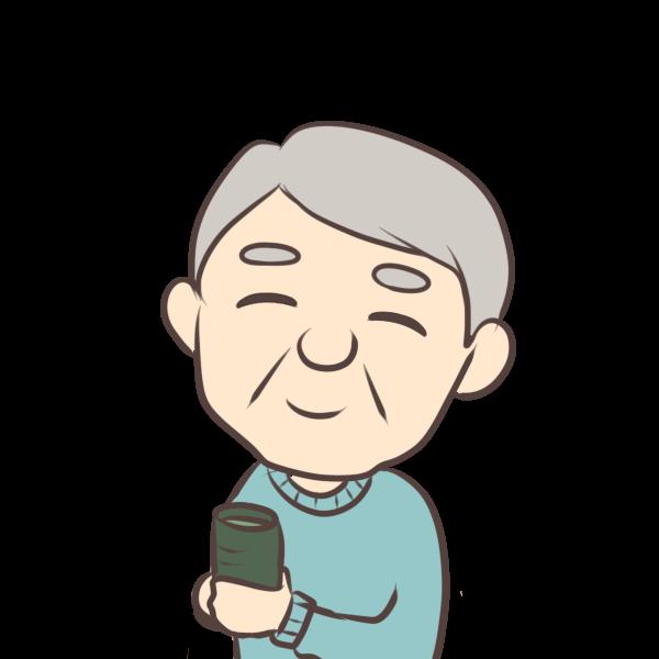 お茶を飲むおじいちゃんのイラスト