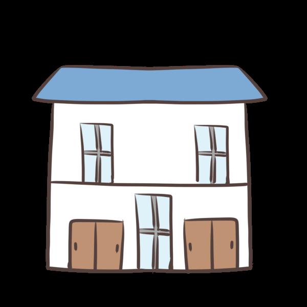 青い屋根の家のイラスト