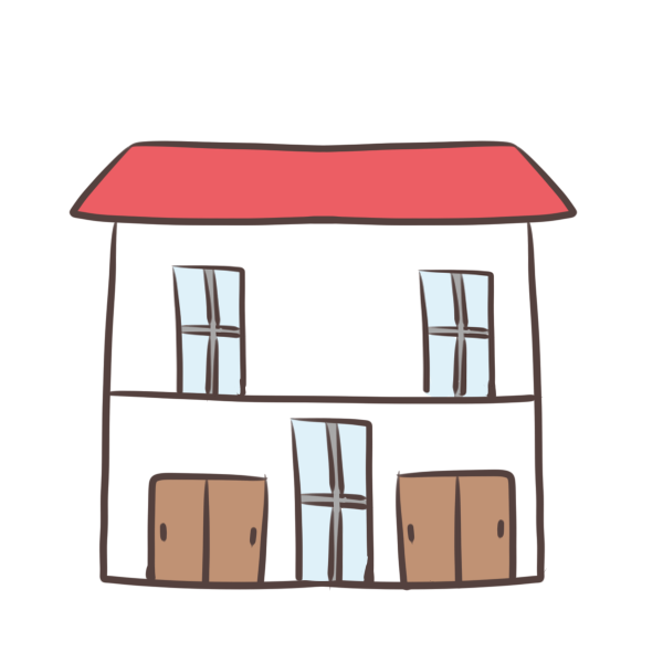 赤い屋根の賃貸のイラスト