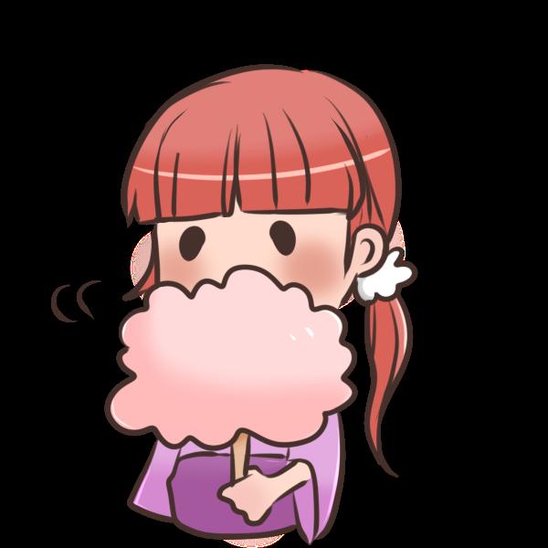 わたあめを食べる女の子のイラスト