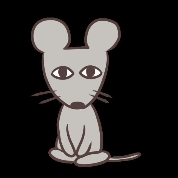 おすわりネズミのイラスト