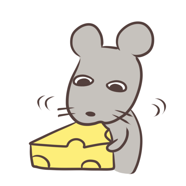 チーズを食べるネズミのイラスト
