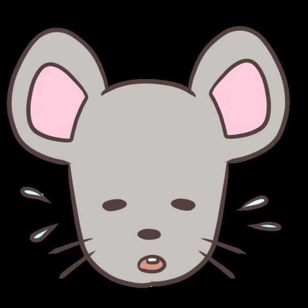 困るネズミのイラスト