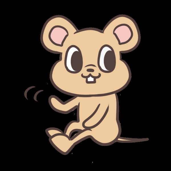 手を振るネズミのイラスト