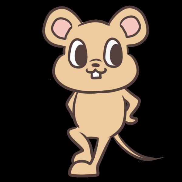 決めポーズネズミのイラスト