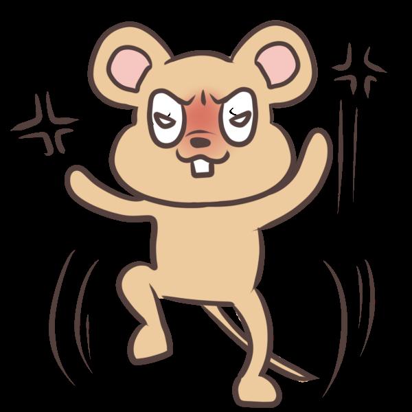 怒りまくるネズミのイラスト