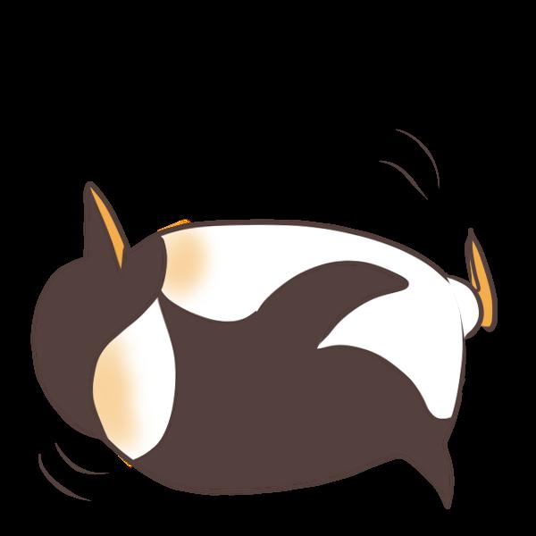 起き上がれないペンギンのイラスト