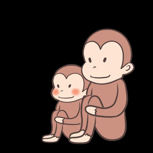 サルの親子のイラスト