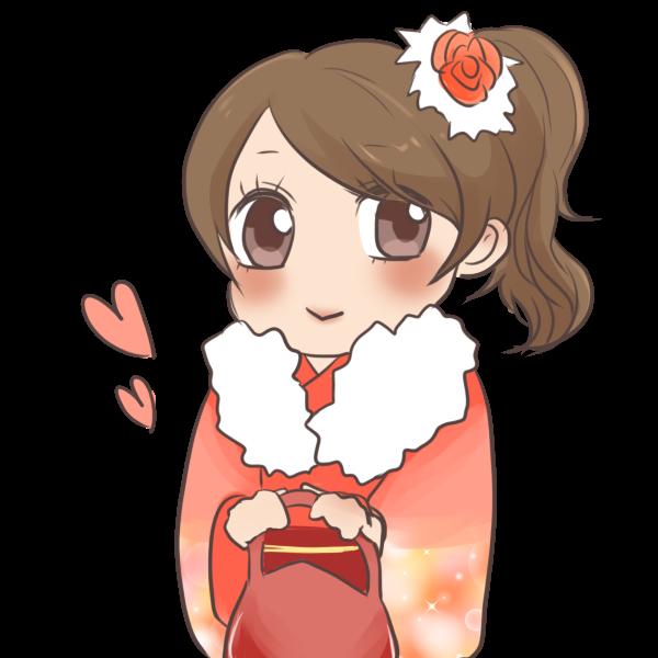 桃色の振袖の女の子のイラスト
