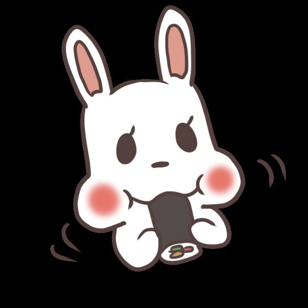 恵方巻きを食べるウサギのイラスト