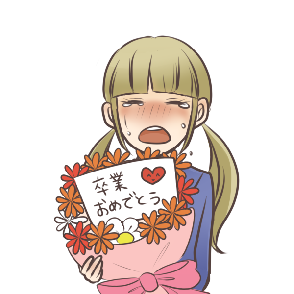 花束を持つ女の子のイラスト