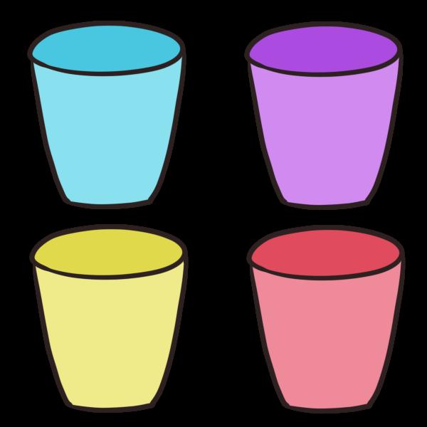 カラフルなコップのイラスト