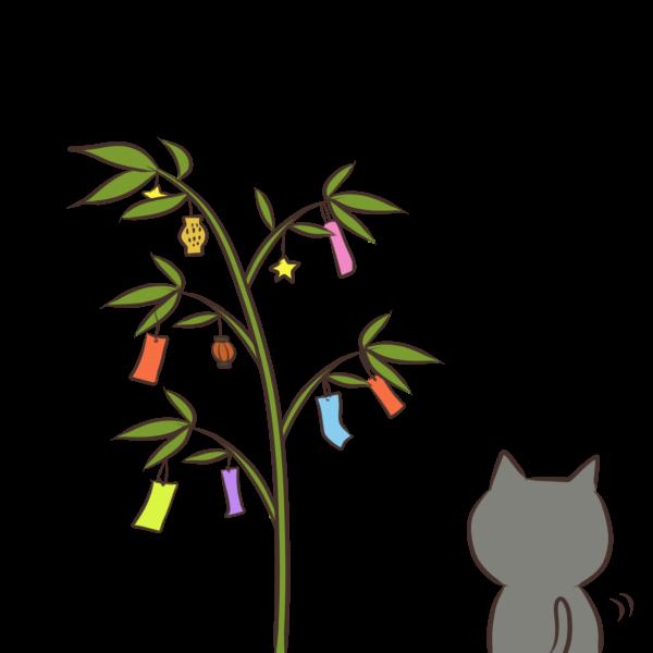 笹を眺める猫のイラスト