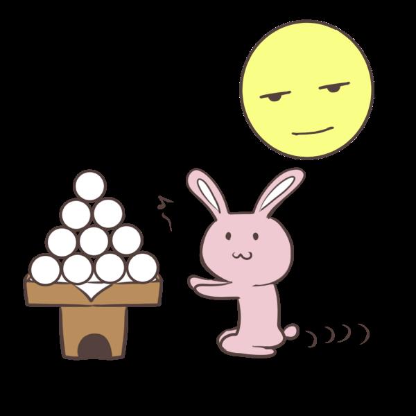つまみ食いしようとしてるウサギのイラスト