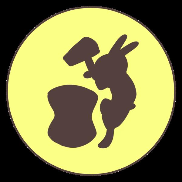 餅つきウサギのイラスト