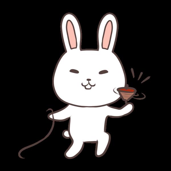 コマで遊ぶウサギのイラスト