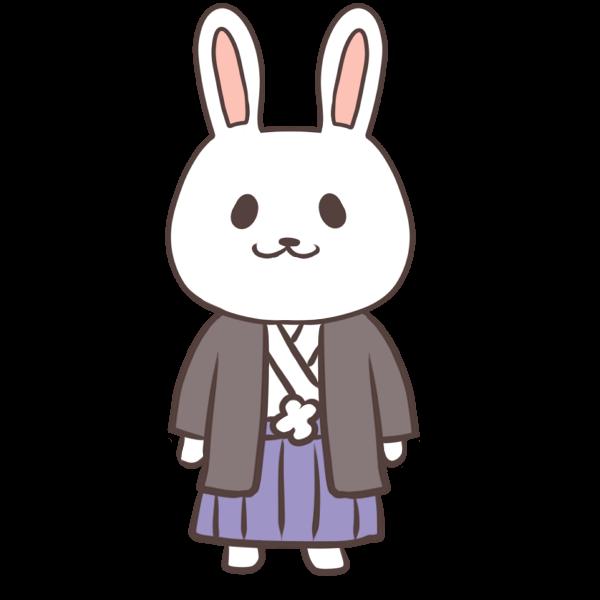 袴姿のウサギのイラスト