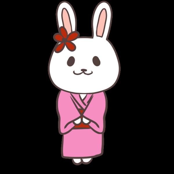 着物姿のウサギのイラスト