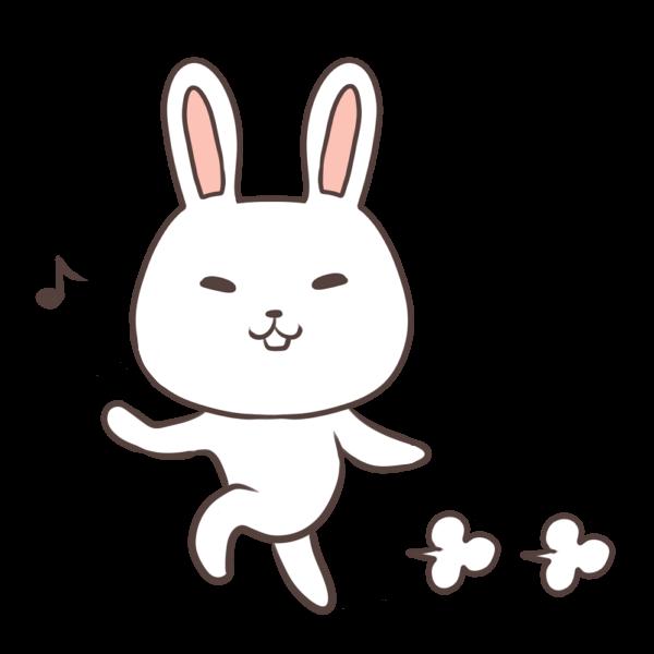 スキップするウサギのイラスト
