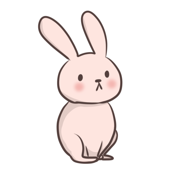 遠くを見ているウサギのイラスト