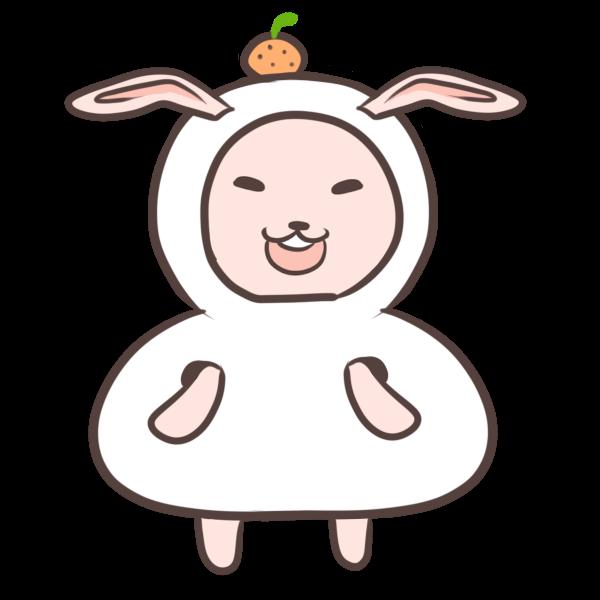 鏡餅の着ぐるみを着るウサギのイラスト