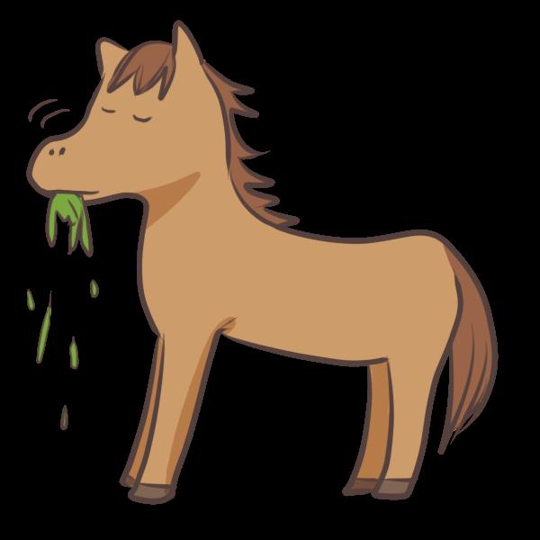 草を食べるウマのイラスト