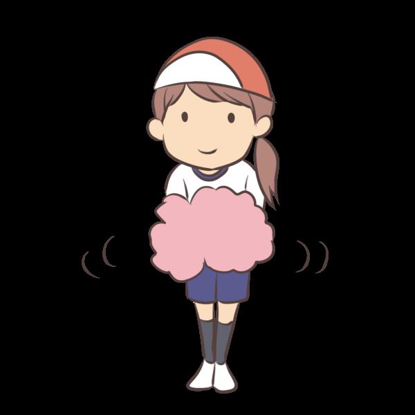 ポンポンを持つ女の子のイラスト