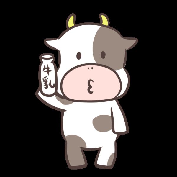 牛乳を持つウシのイラスト