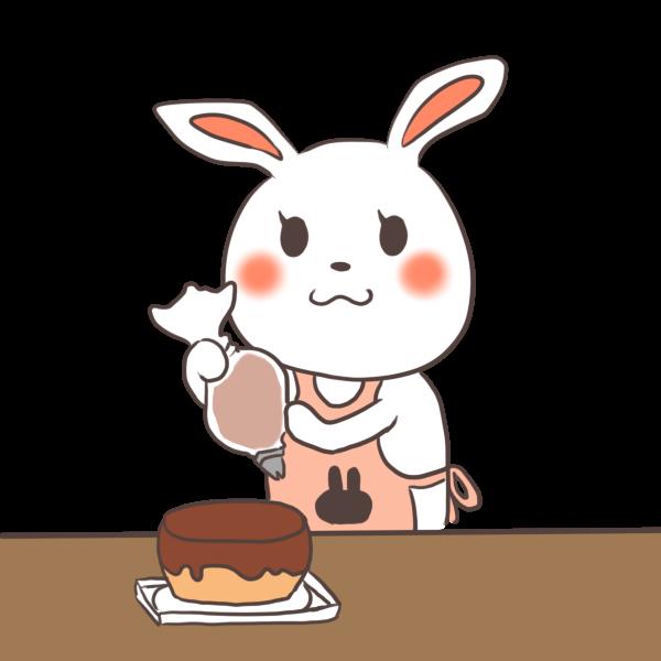 ケーキ作りをするウサギのイラスト
