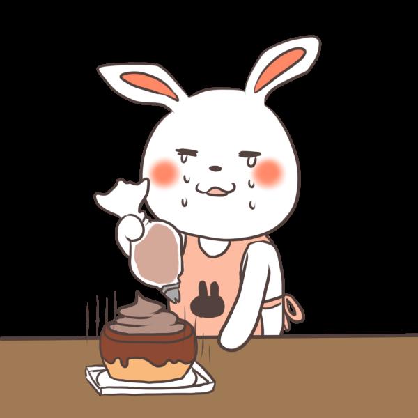 ケーキ作りを失敗するウサギのイラスト