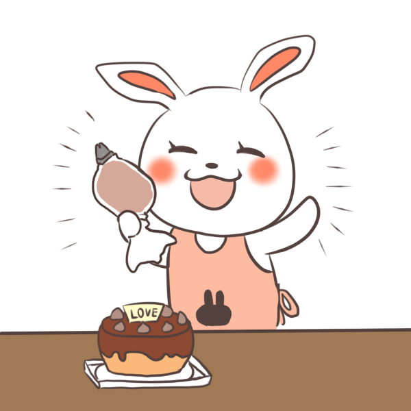ケーキ作りを成功するウサギのイラスト