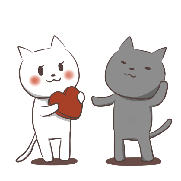 猫のバレンタインのイラスト