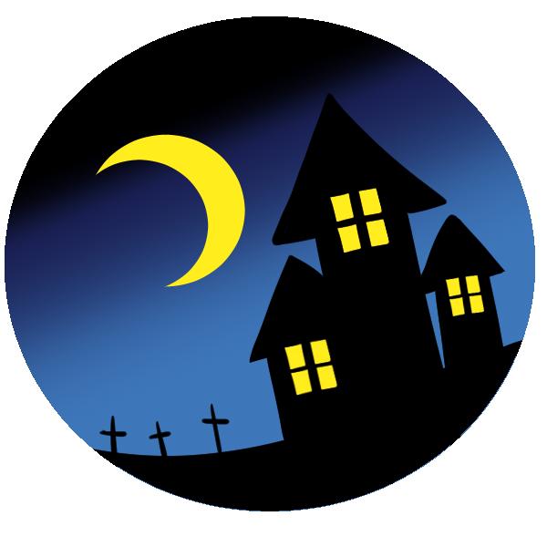 夜の家と墓のイラスト