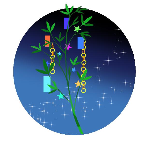 夜の笹のイラスト