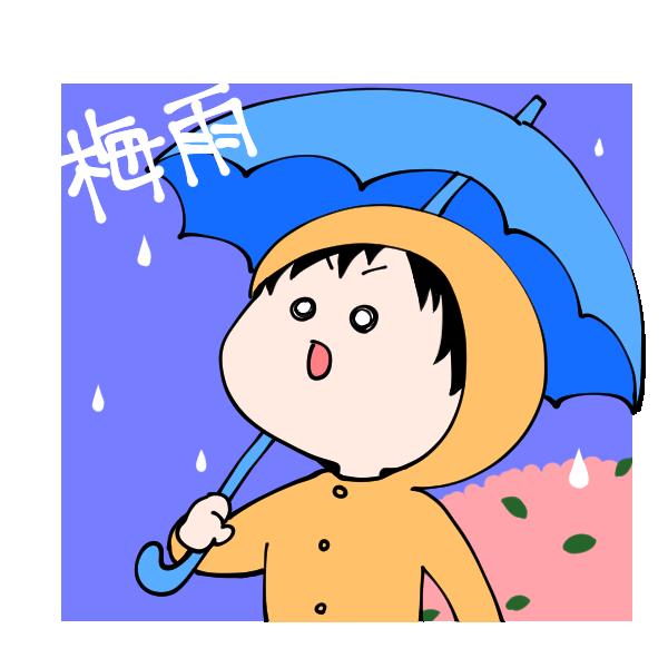 雨の日の男の子のイラスト
