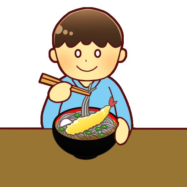 そばを食べる男の子のイラスト