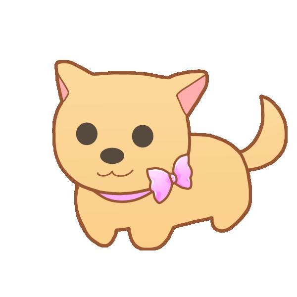 リボンの首輪の犬のイラスト