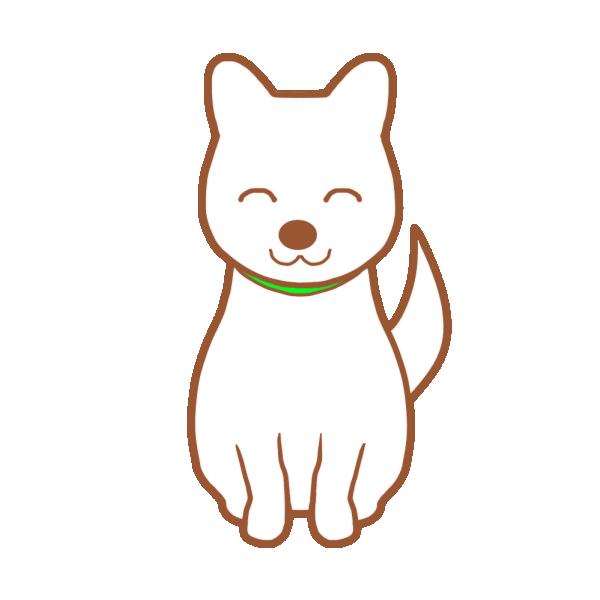 白い犬(笑顔)のイラスト