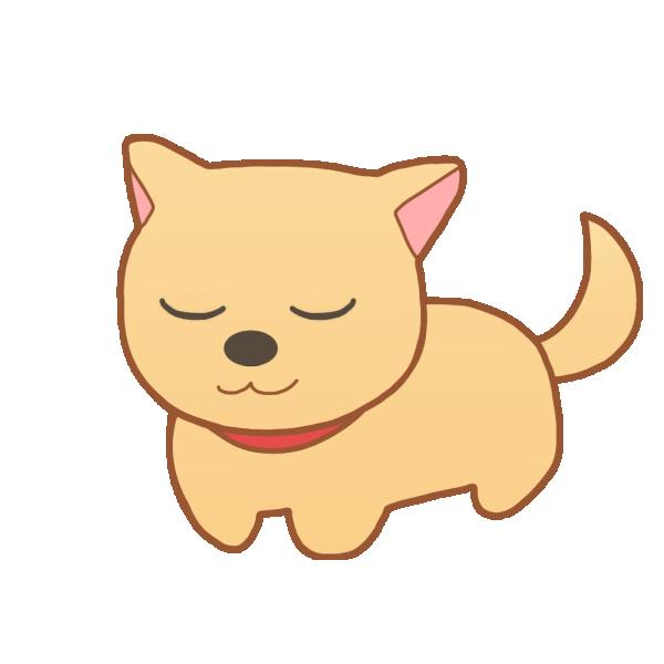 目を閉じた犬のイラスト