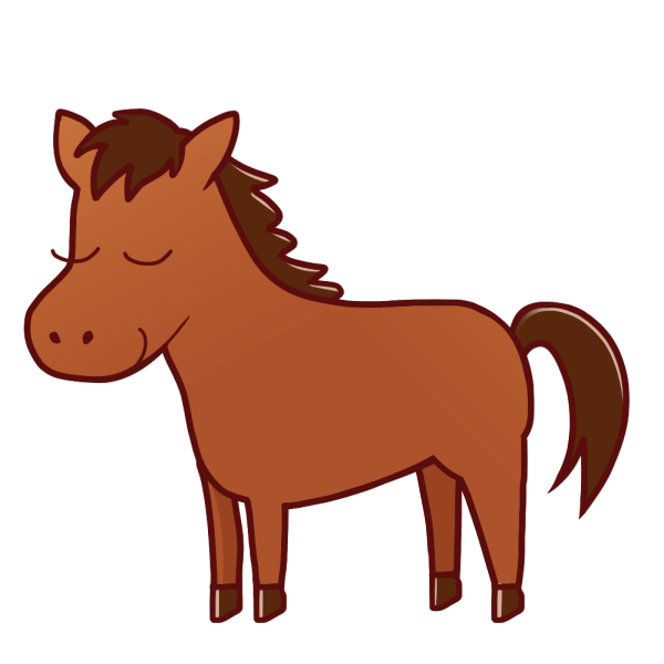 目を閉じた馬のイラスト