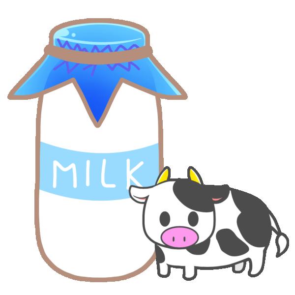牛乳と牛のイラスト