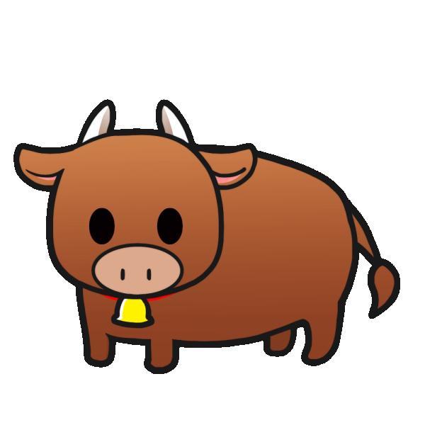 牛(茶)のイラスト