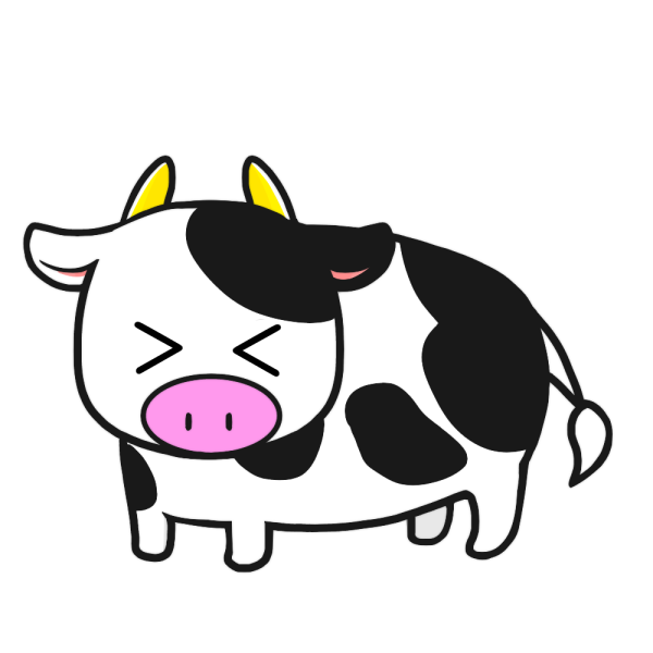 牛(困り顔)のイラスト
