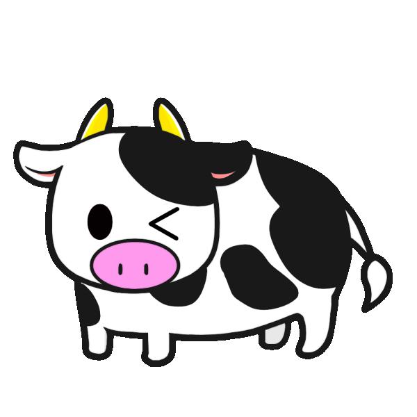 牛(ウィンク)のイラスト